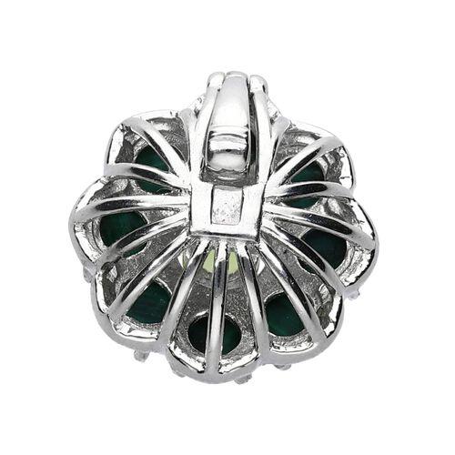 Malachite (Rnd), Hebei Peridot Floral Pendant in Silver Tone 6.00 Ct.