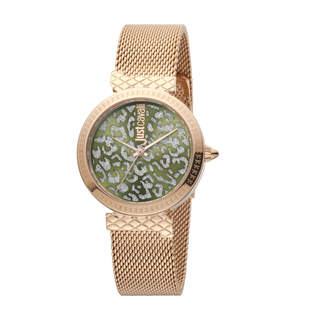 Just Cavalli Animalier Japanese Movement Ladies Bracelet Watch in Green Dial and Rose Gold Tone