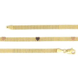 Vicenza Collection -9K Yellow and Rose Gold Heart Bismark Necklace (Size 18), Gold wt 6.00 Gms.