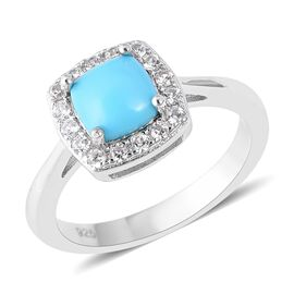 1.05 Ct Arizona Sleeping Beauty Turquoise and Zircon Halo Ring in Rhodium Plated Sterling Silver