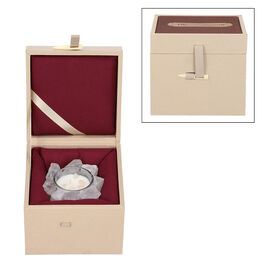 The 5th season White Quartz Candle with Wooden Gift Box in White (Fragrance : Amber ebony)