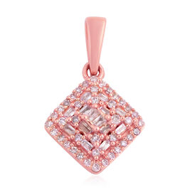 9K Rose Gold Natural Pink Diamond (Rnd and Bgt) Pendant  0.330 Ct.