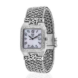 Royal Bali Collection Hand Made EON 1962 Swiss Movement Bracelet (Size 7.0) Watch in Sterling Silver, Silver wt 55.00 Gms