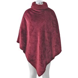 Ultra Soft Double Layer Flannel Sherpa Free Size Wrap (Size 105 Cm) - Wine