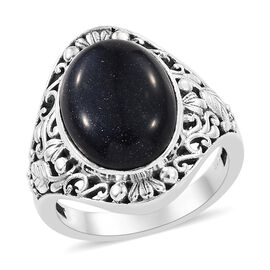 One Time Deal- Blue Sandstone (Ovl) Ring in Sterling Silver, Silver wt 6.20 Gms