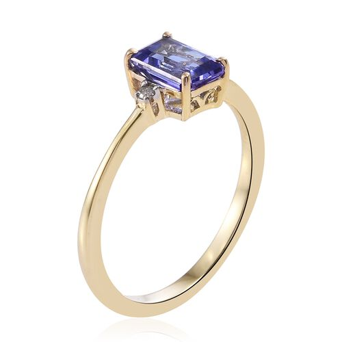 9K Yellow Gold AA Tanzanite (Oct), Diamond Ring 1.000 Ct.