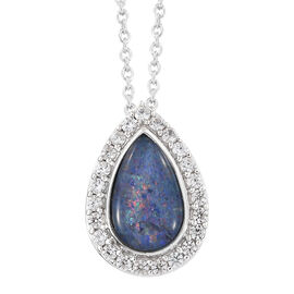 Australian Boulder Opal (Pear), Natural White Cambodian Zircon Pendant With Chain in Platinum Overla