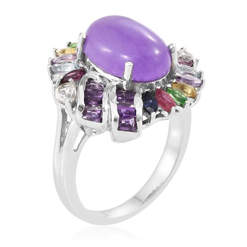 Purple Jade (Ovl 7.15 Ct), African Ruby, White Topaz and Multi Gemstone Ring in Platinum Overlay Sterling Silver 9.500 Ct. Silver wt 6.68 Gms.