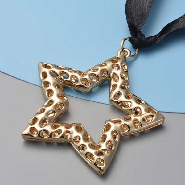 RACHEL GALLEY Star Baubles with Lattice Work in Yellow Gold Tone