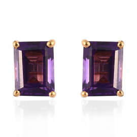 Amethyst (Oct) Stud Earrings (with Push Back) in 14K Gold Overlay Sterling Silver 1.88 Ct.