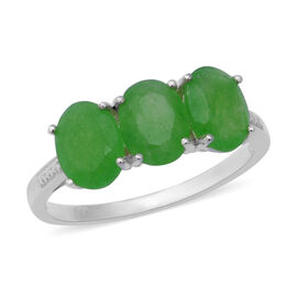 Green Jade (Ovl) Trilogy Ring (Size N) in Sterling Silver 3.450 Ct.