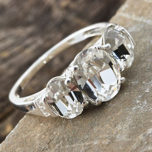 J Francis Crystal from Swarovski - White Crystal (Ovl) 3 Stone Ring in Sterling Silver