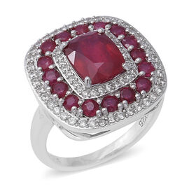 5.91 Ct African Ruby and Zircon Cluster Ring in Rhodium Plated Silver 5.80 Grams