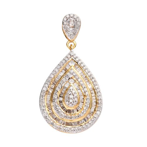 1 Ct Diamond Cluster Drop Pendant in Gold Plated Sterling Silver