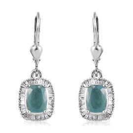 Extremely Rare Grandidierite (Cush 7x5mm), Diamond 0.500 Ct.) Lever Back Earrings in Platinum Overla