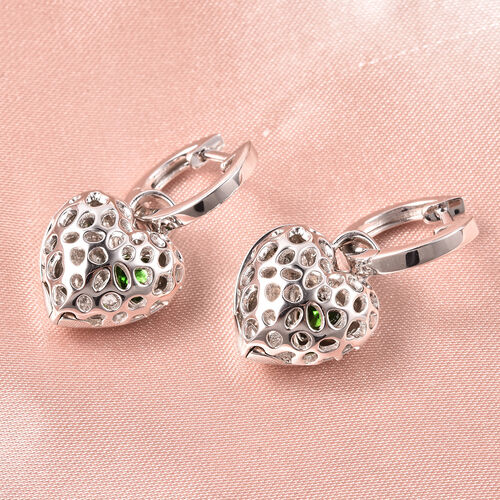 RACHEL GALLEY Angel Heart Collection - Russian Diopside Lattice Heart Charm Hoop Earrings (with French Clip) in Rhodium Overlay Sterling Silver