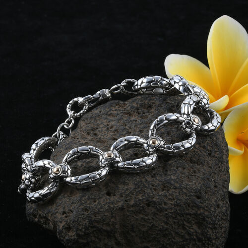 Royal Bali Collection 18K Yellow Gold and Sterling Silver Bracelet (Size 7.5) Metal wt 33.4 Gms