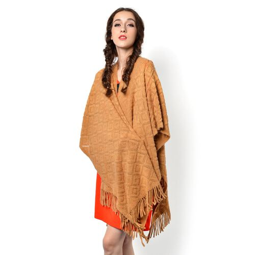 Brown Colour Knitted Shawl with Tassels (Size 90x85 Cm)