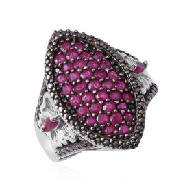 Burmese Ruby (Rnd), African Ruby and Boi Ploi Black Spinel Cluster Ring in Rhodium Overlay with Blac