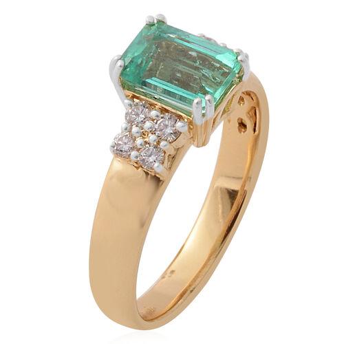 Signature Collection-  ILIANA 18K Yellow Gold AAA Boyaca Colombian Emerald and Diamond (SI/G-H) Ring 1.500 Ct.