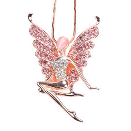 Simulated Pink Cats Eye, Pink & White Austrain Crystal Fairy Pendant With Chain in Rose Gold Tone