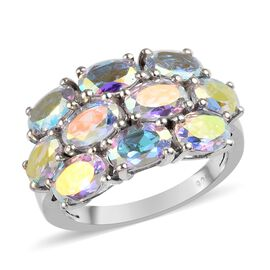 5 Ct Mercury Mystic Topaz Cluster Ring in Platinum Plated Silver