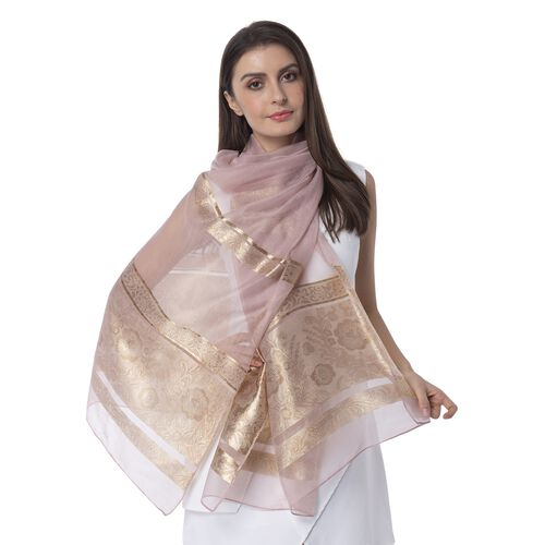 Pink Colour Shiny Plum Blossom Pattern with Golden Colour Strip Scarf (Size 190x75 Cm)