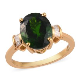 Russian Diopside, White Diamond Main Stone With Surrounding Stone Ring in 14K Gold Overlay Sterling