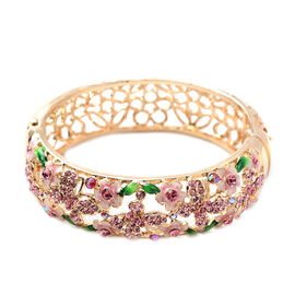 Multi Colour Crystal Cherry Blossom, Leaf and Butterfly Enamelled Bangle (Size 7.25) in Gold Tone
