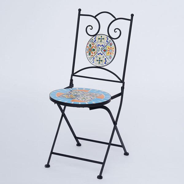 3 Piece Set - Square Pattern Mosaic Bistro Set Table (Size:60x60x70Cm) and 2 Chairs (Size:39x44x90Cm) - Multi