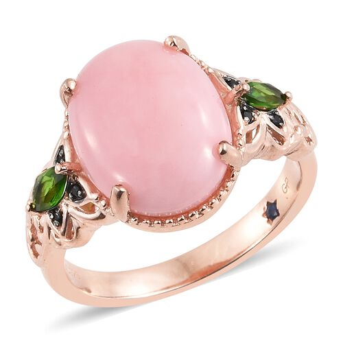 GP Peruvian Pink Opal (Ovl 6.50 Ct), Russian Diopside, Boi Ploi Black Spinel and Kanchanaburi Blue Sapphire Ring in Rose Gold Overlay Sterling Silver 7.000 Ct.