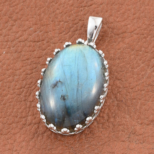 Extremely Rare Size Pauls Island Labradorite (Ovl 30x20mm) Pendant in Silver Plated 43.040 Ct.