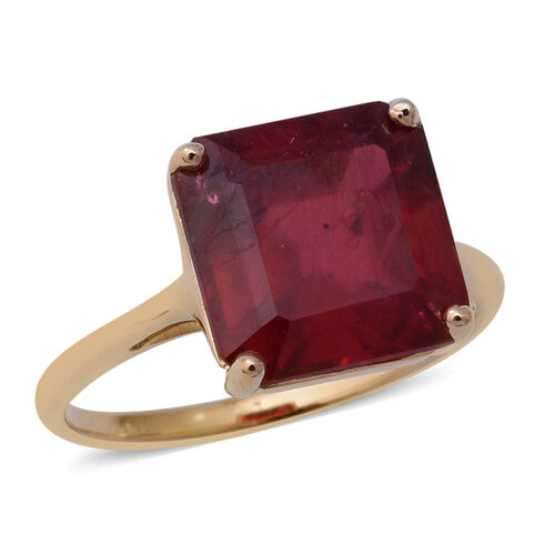 7.15 Ct AAA African Ruby Asscher Cut Solitaire Ring in 9K Gold