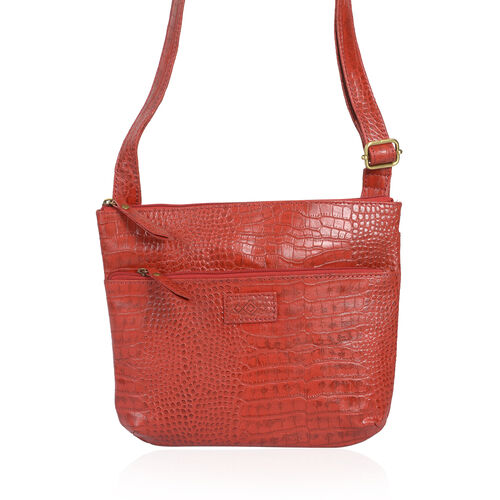 (LAST CHANCE TO BUY ) Genuine Leather Red Colour Croc Embossed Crossbody RFID Bag with External Zipper Pocket and Adjustable Strap (Size 29.5x24 Cm)