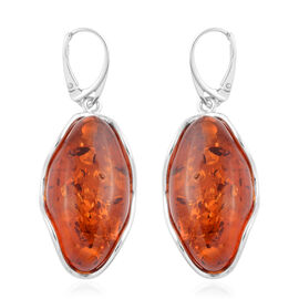 Baltic Amber Drop Earrings with Lever Back in Silver 8 Grams