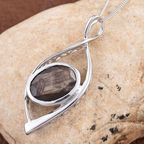 Natural Zawadi Golden Sheen Sapphire (Ovl) Solitaire Pendant With Chain in Platinum Overlay Sterling Silver 7.750 Ct.