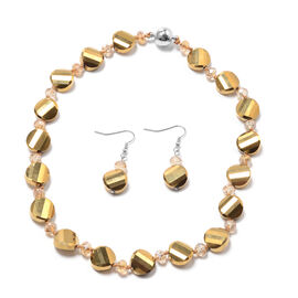 2 Piece Set - Simulated Champagne Quartz and Simulated Champagne Diamond Hook Earrings and Necklace