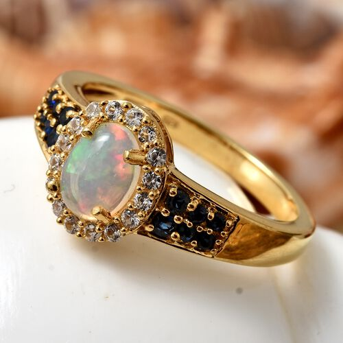 Ethiopian Welo Opal (Ovl), Kanchanaburi Blue Sapphire and Natural Cambodian Zircon Ring in 14K Gold Overlay Sterling Silver 1.250 Ct.