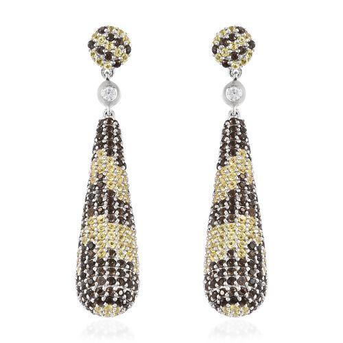 Brazilian Smoky Quartz (Rnd),Yellow Sapphire and Natural White Cambodian Zircon Dangle Earrings (wit