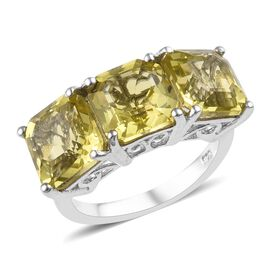 7.25 Ct Natural Ouro Verde Quartz Trilogy Ring in Platinum Plated Sterling Silver