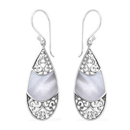 Royal Bali Collection Mother of Pearl Drop Hook Earrings in Sterling Silver, Silver wt 3.10 Gms.