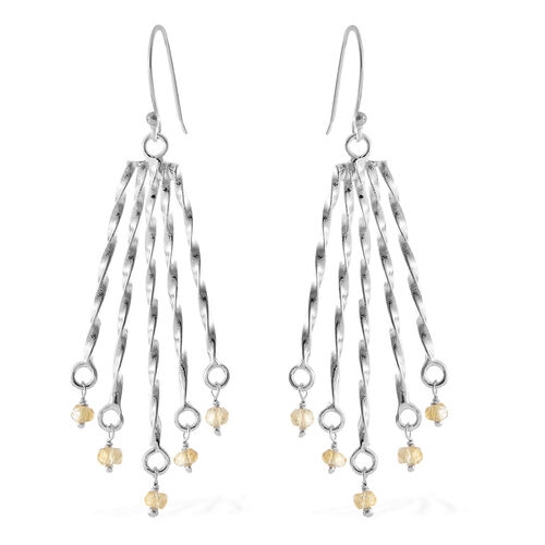 Couture Collection- Citrine (Rnd) Hook Earrings in Rhodium Overlay Sterling Silver 1.600 Ct, Silver