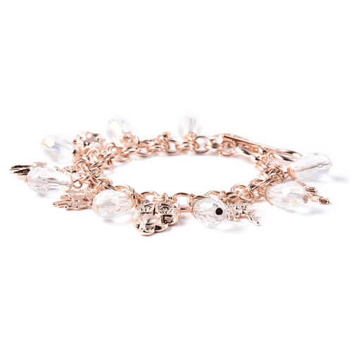 2 Piece Set - STRADA Japanese Movement White Austrian Crystal Studded Water Resistant Watch and White Mystic Colour Beads Multi Charm Bracelet (Size 8 with 5 inch Extender) in Rose Gold Tone