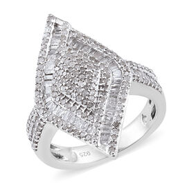 Diamond (Bgt) Rhombus Ring in Platinum Overlay Sterling Silver  1.010 Ct., Silver wt 5.59 Gms, Numbe