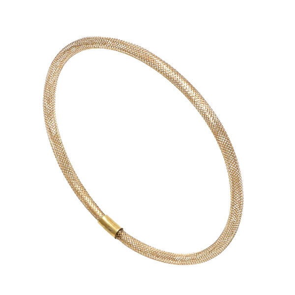 One Time Deal- Italian Made- 9K Yellow Gold Round Stretchable Mesh Bangle (Size 6-9)