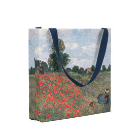 SIGNARE-Tapestry Collection - Monet Poppy Art Shoulder Tote Bag ( 37 x 36 x 6 Cms )