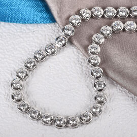 J Francis Platinum Overlay Sterling Silver Necklace (Size 18) Made with SWAROVSKI ZIRCONIA 8.92 Ct, Silver wt. 14.00 Gms