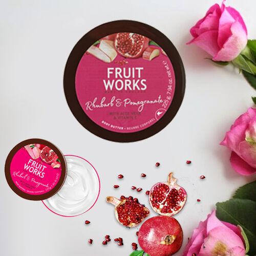 FruitWorks: Rhubarb & Pomegranate Body Butter (With Aloe Vera & Vitamin E) - 225 Gms