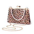 Pink Leopard Pattern Clutch Closure Crossbody Bag with Dangling Pearl Chain and Metallic Shoulder St