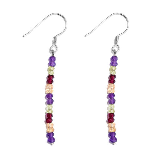 One Time Deal - Amethyst (Rnd), Rhodolite Garnet, Citrine, Hebei Peridot Hook Earrings in Platinum Overlay Sterling Silver 5.600 Ct.